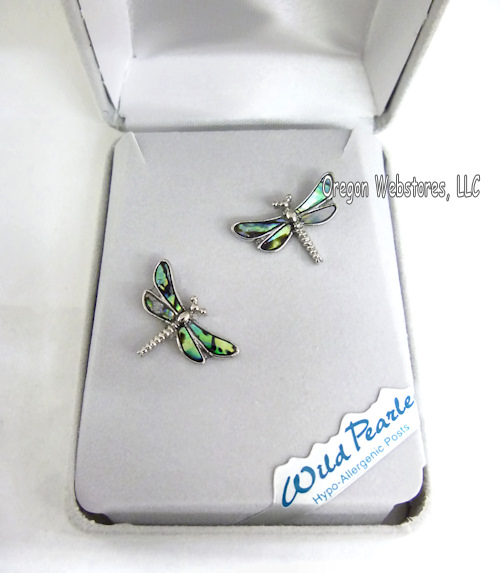 Abalone Dragonfly Stud Earrings