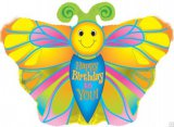 Smiley Butterfly Birthday Balloon
