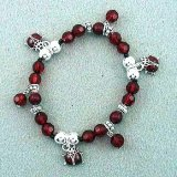 Kids' Red Beaded Ladybug Charm Bracelet