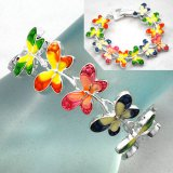 Colorful Enameled Butterfly Bracelet