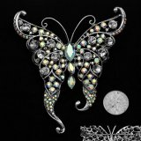 Crystal Vintage-Look Butterfly Pin