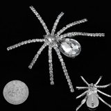 Large Crystal Silvery Spider Pin