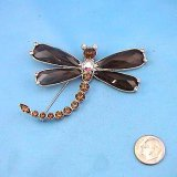 Topaz Crystal Dragonfly Pin