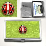 Enameled Ladybug Business Card Case