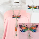 Rainbow Enameled Dragonfly Necklace and Earring Set