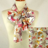 Butterfly White Satin Stripe Scarf