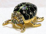 Black Beetle Enameled Jewel Box