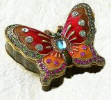 Ruby Red Enamel Butterfly Jewel Box