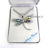 Elegant Dragonfly Abalone Necklace