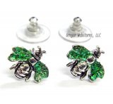Green Glitter Bee Earrings