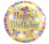 Pastel Happy Birthday Balloon with Butterfly