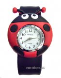 "Ladybug Watch with Black ""slap"" band"