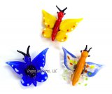 Set of Three Assorted Glass Butterfly Magnets