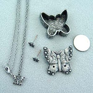 Pewter Butterfly Box w/ Necklace & Earrings