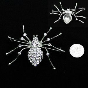 Silvery Crystal Spider Pin
