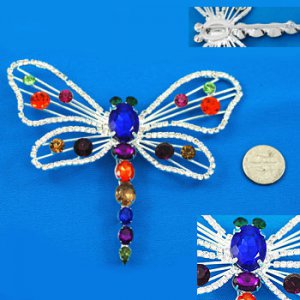 Large Multicolored Crystal Dragonfly Pin