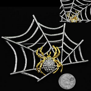 Crystal Two-Tone Spider on Web Pin