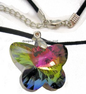 Crystal Butterfly Pendant on Cord