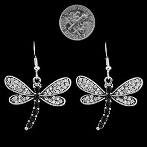 Dragonfly Clear Stone Dangly Earrings
