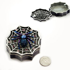 Blue Crystal Spider on Web Jewel Box