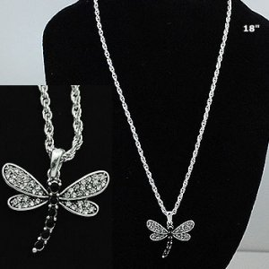 Dragonfly Clear Stone Necklace