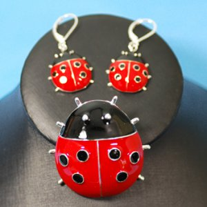 Ladybug Enameled Earrings & Pendant/Pin Set
