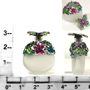 Multicolored Jeweled Butterfly Perfume Bottle