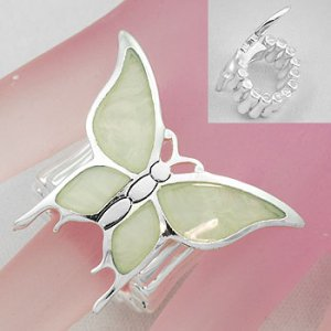Inlaid Shell Butterfly Stretch Ring