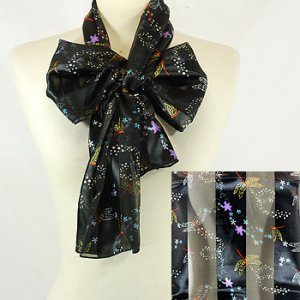 Dragonfly Black Satin Stripe Scarf