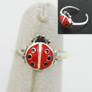 Sterling Silver/Enamel Ladybug Toe or Pinky Ring