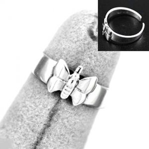 Sterling Silver Butterfly Toe or Pinky Ring