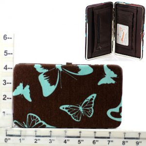 Butterfly Brown/Blue Canvas Wallet