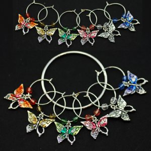 Multicolored Butterfly Wine Charms, set/6