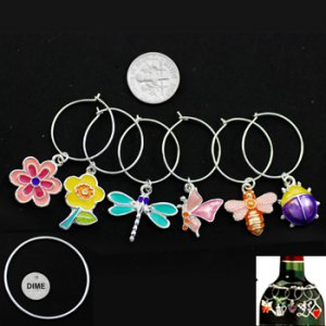 Bugs and Flowers Enameled Wine Charms, set/6