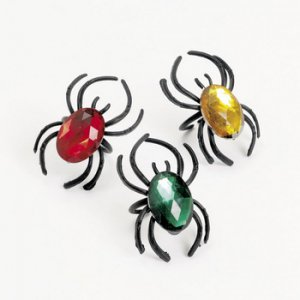 Jeweled Plastic Spider Rings (12)