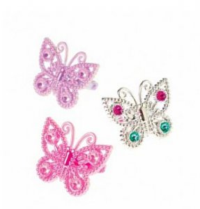 Colorful Plastic Butterfly Rings (12)