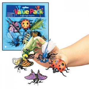 Insect Vinyl Finger Puppets, pk/12