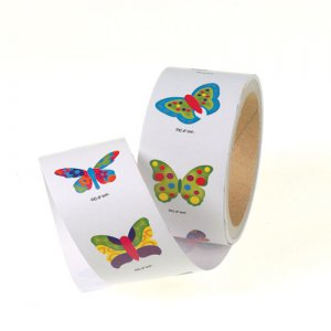 Roll of 100 Butterfly Stickers