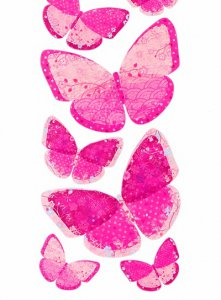 Pink Pattern Butterfly Wall Stickers (18pc)