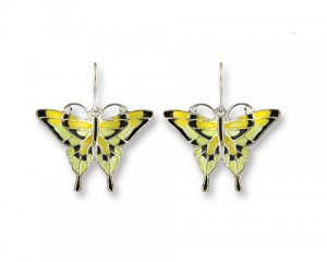 Tiger Swallowtail Silverplate Enamel Earrings