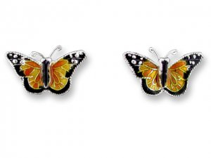 Monarch Butterfly Sterling Enamel Earrings