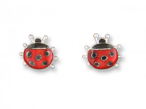 Spotted Ladybug Sterling Enamel Earrings