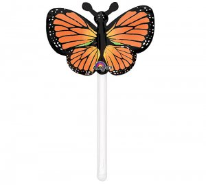 Inflatable Mylar Orange Butterfly on Holder