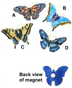 Enameled Butterfly Magnet (colors vary)