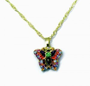 Sparkly Crystal Enamel Butterfly Necklace