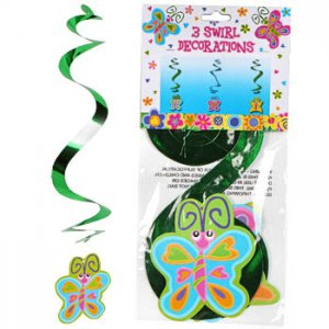 Spring Butterfly Swirl Decorations, pk/3