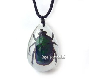 Green Rose Chafer Beetle Necklace