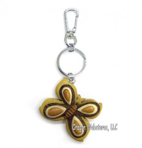 Natural Wood Butterfly Keychain