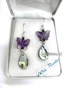 Elegant Butterfly Abalone Earrings