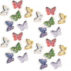 Colorful Butterflies Glass Accents, pk/24